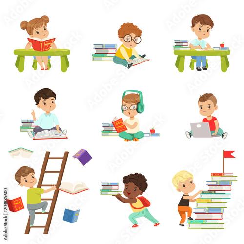smart little kids reading books set cute preschool children