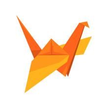 Orange Crane Bird Made Of Pape...