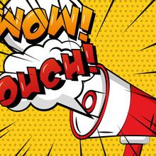 Pop Art Comic Megaphone Speech Bubble Ouch Wow Polka Dots Vector Illustration