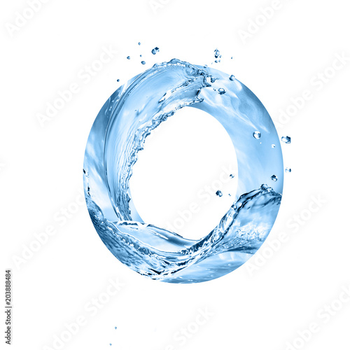 stylized font, text made of water splashes, capital letter o, isolated on white background Wall mural