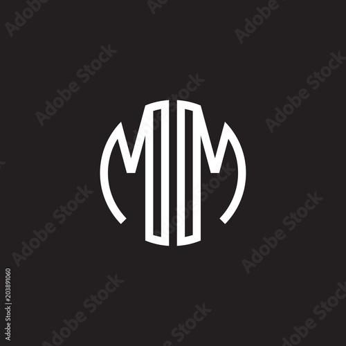 Fotografia  Initial letter MM mirror, minimalist line art monogram circle shape logo, white
