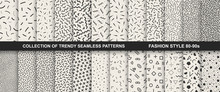 Collection Of Memphis Seamless Patterns. Fashion 80-90s.