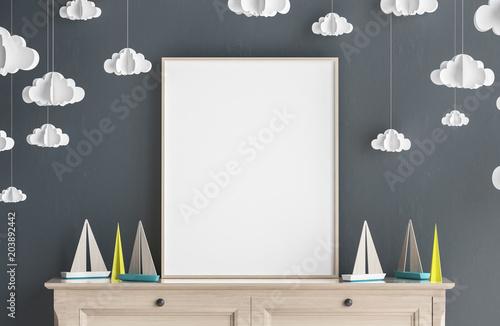 Mock up poster frame in children room, Scandinavian style interior background, 3D render