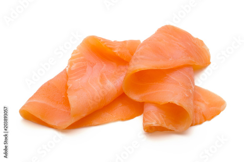 Foto Fresh salmon slice and spice on the white background.