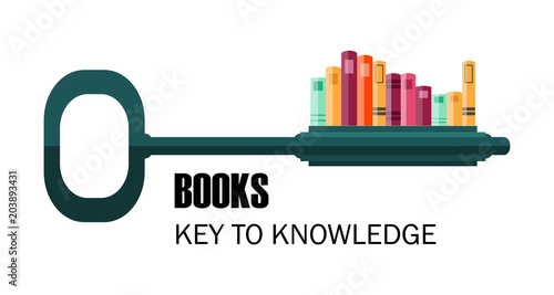 Fotografía  key to knowledge. logo. key with books