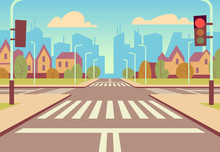 Cartoon City Crossroads With Traffic Lights, Sidewalk, Crosswalk And Urban Landscape. Empty Roads For Car Traffic Vector Illustration