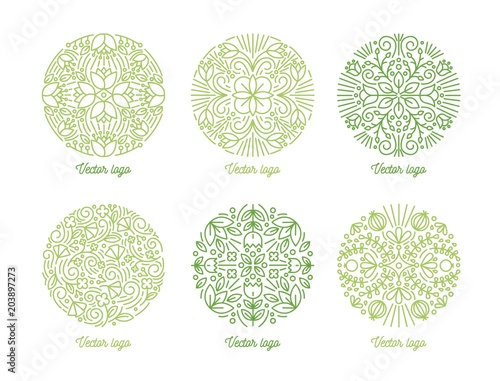 Collection of curved circular oriental ornaments drawn with green contour lines on white background Wallpaper Mural