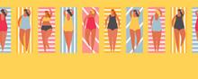 Summer People On The Beach. Vector Illustration Seamless Border