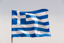 Greek Flag On A Pole Floating ...