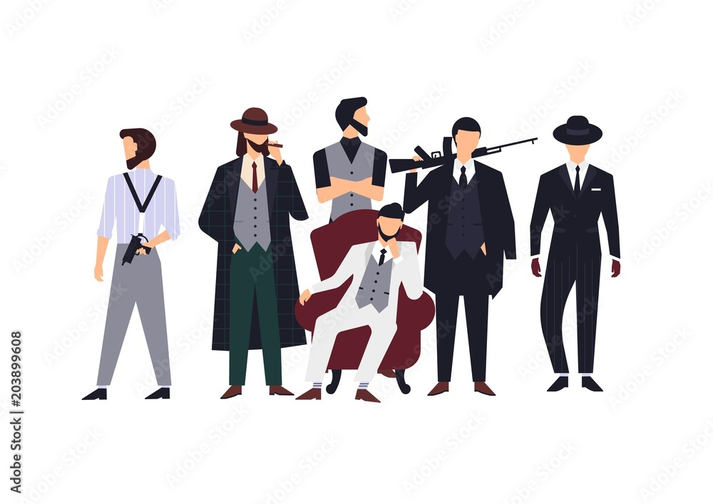 Fototapeta Group of mafia members or mafiosi dressed in elegant retro clothes or formal suits and holding fire guns. Flat male cartoon characters isolated on white background. Colorful vector illustration.