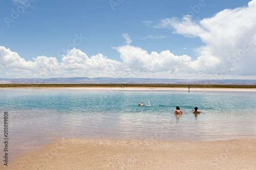 Foto op Canvas Strand Swimming in Laguna Cejar