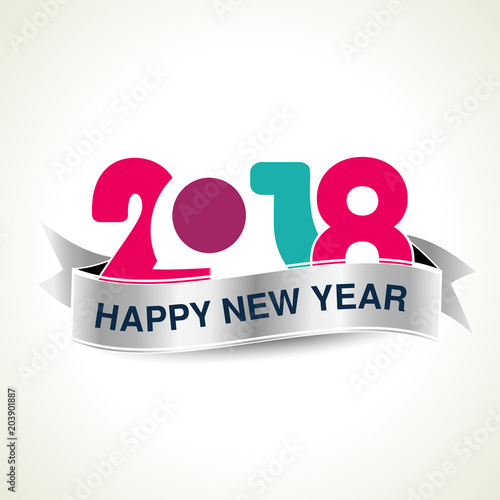 vector 2018 happy new year background with silver ribbon season greetings colorful modern design