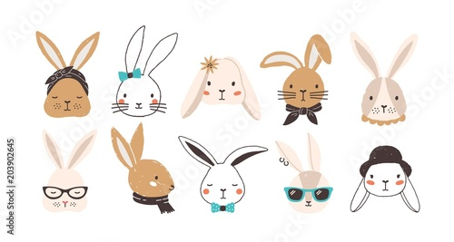 Fotografie, Obraz  Bundle of funny bunny faces isolated on white background