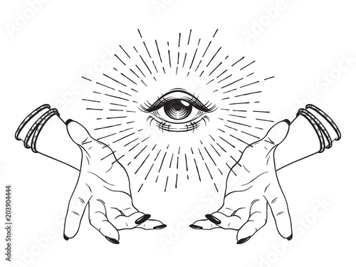 Fotografía  Hand-drawn Eye of Providence in hands of witch, all seeing eye, conspiracy theory, alchemy, religion, spirituality, print or tattoo design vector illustration