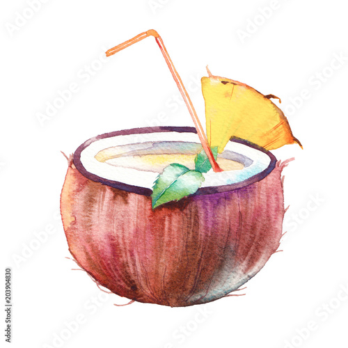 Hand Drawn Exotic Coconut Drink With Pineapple Slice And Mint Leaves