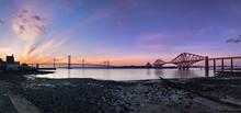 Sunset View Of The Forth Bridges Near Edinburgh. South-Queensferry, Scotland, UK