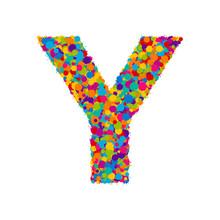 Vector Colorful Paint Splashes Font, Letter Y