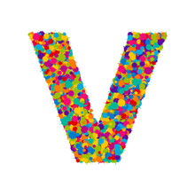 Vector Colorful Paint Splashes Font, Letter V