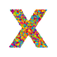 Vector Colorful Paint Splashes Font, Letter X