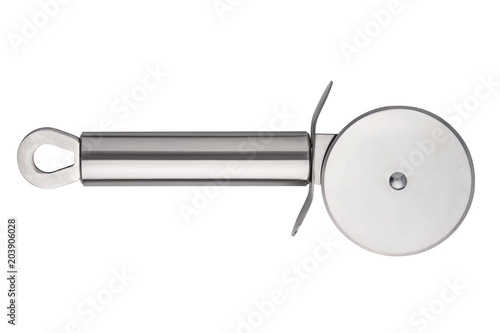 Fotografie, Obraz  silver cutter for pizza isolated on white background