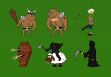 A Set Of Different Medieval Fantasy Monsters In Cartoon Style Suitable For Halloween