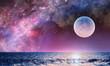Leinwandbild Motiv Full moon in night starry sky
