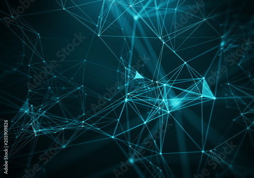 In de dag Fractal waves Abstract Blue Geometrical Background ..Futuristic technology style. Neon Sign . HUD Element . Elegant . Big data visualization .