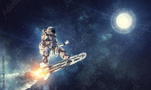 Türaufkleber UFO Astronaut surfing dark sky. Mixed media