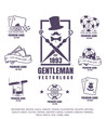 gentleman club, vector illustration, set of poker logos, emblem of gambling, icon of cigar, chips on white background.