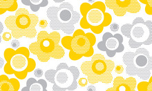 Tender Gray And Yellow Floral Seamless Pattern.