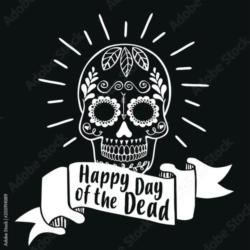 Ingelijste posters Halloween Happy Day of the Dead. Vector illustration banner.