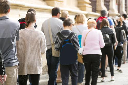 Fotografie, Obraz  people  queue in line, selective focus