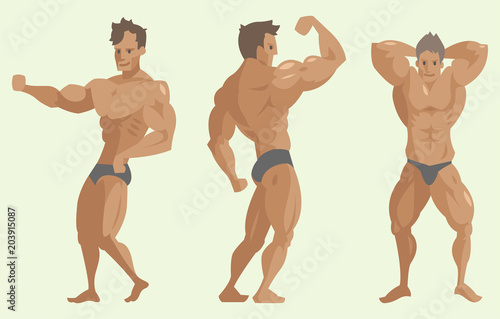 Fotografie, Obraz  Bodybuilder sportsman vector characters muscular bearded man fitness male strong