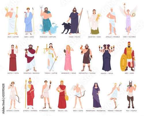 Photo  Collection of Olympic gods and goddesses from Greek and Roman mythology, mythological creatures