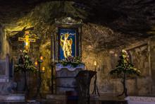 Statue Of San Michele Arcangelo Inside The Shrine Of The Sanctuary Of San Michele Arcangelo, Monte Sant'Angelo, Apulia, Italy