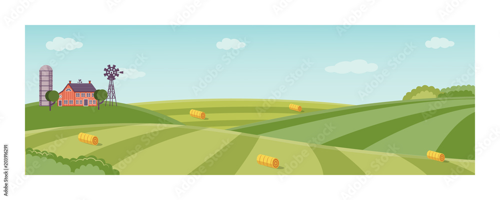 Fototapeta Rural landscape with farm field with green grass, trees. Farmland with house, windmill and hay stacks . Outdoor village scenery, farming background. Vector illustration