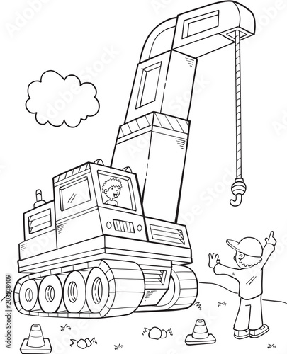 Poster Cartoon draw Giant Construction Crane Vector Illustration Art