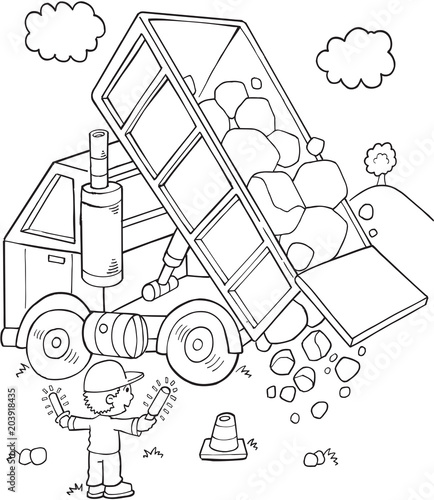 Spoed Foto op Canvas Cartoon draw Cute Construction Dump Truck Vector Illustration Art