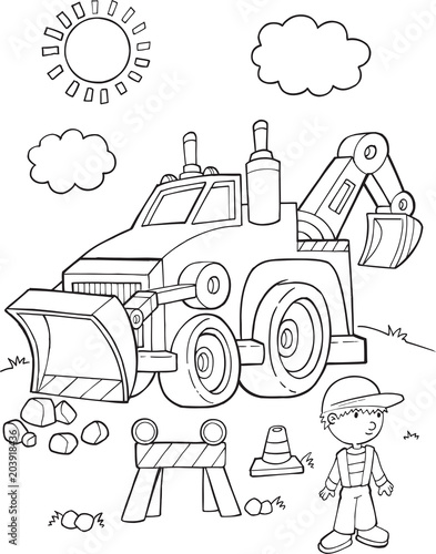 In de dag Cartoon draw Cute Construction Digger vehicle Vector Illustration Art