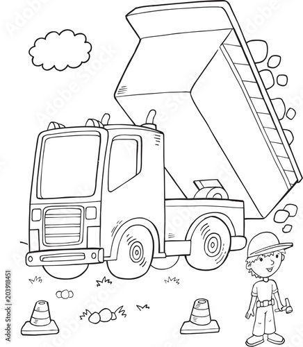 Poster Cartoon draw Cute Dump Truck Construction Vector Illustration Art