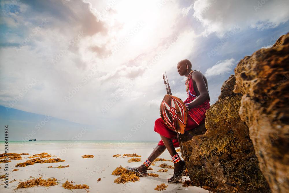 Fototapety, obrazy: Portrait of a Masai warrior,DianiBeach, Ukunda, Kenya