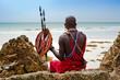 Leinwanddruck Bild - portrait of a Maasai warrior in Africa. Tribe, Diani beach, culture
