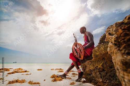 Canvastavla  Portrait of a Masai warrior, Diani Beach, Ukunda, Kenya