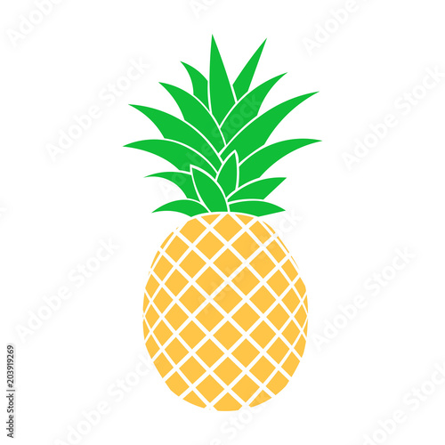 Summer fruits for healthy lifestyle. Pineapple fruit. Vector illustration cartoon flat icon isolated on white. Wall mural