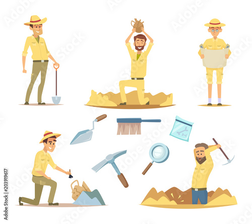 Vector archaeologist characters at work Canvas Print
