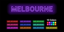 Neon Name Of Melbourne City