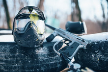 Splattered Paintball Mask And ...