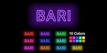 Neon Name Of Bari City
