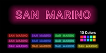 Neon Name Of San Marino City
