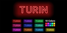 Neon Name Of Turin City